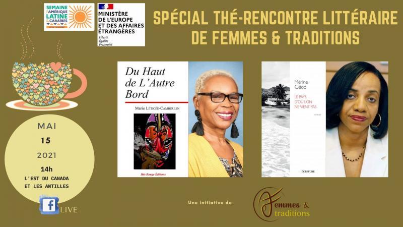 Echange littéraire en live (Facebook) entre Corinne Mencé-Caster et Akosua Fadhili Afrika le 15 mai