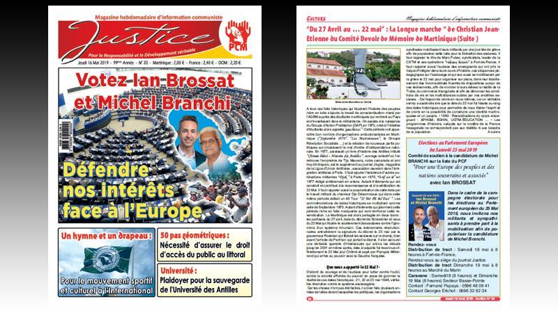 """Hebdo """"JUSTICE"""" N° 20 : défendre nos intérêts face à l'Europe ; un hymne et un drapeau ; 50 pas géométriques ; plaidoyer pour l'unité de l'Université des Antilles"""