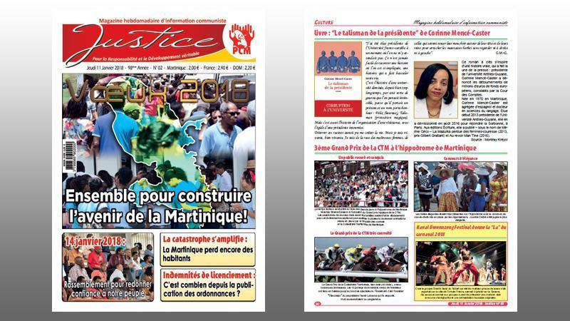 """""""JUSTICE"""" n° 02 (201) : rassemblement des militants du PCM le 14 janvier ; quel avenir pour l'hôpital ? ; le budget de la ville de Fort-de-France ; les petites économies caribéennes touchées par les cyclones ; les 12 victoires de Maduro..."""