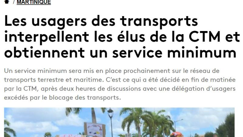 Dossier transport : Martinique Première désinforme