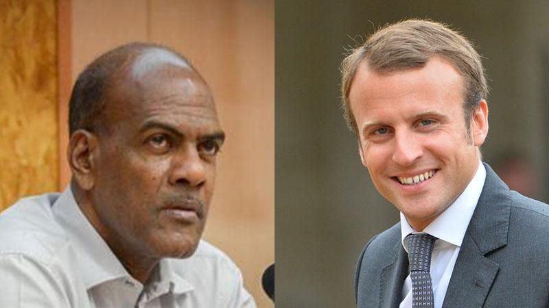 O presidente da Martinica (S. Letchimy) en accord avec le président de la France (E. Macron) sur la vaccination