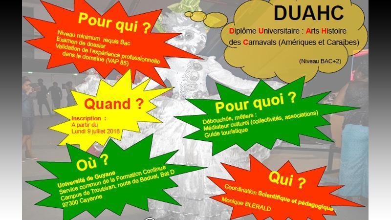 DU (diplôme d'université) Arts et Histoire des carnavals à l'Université de Guyane