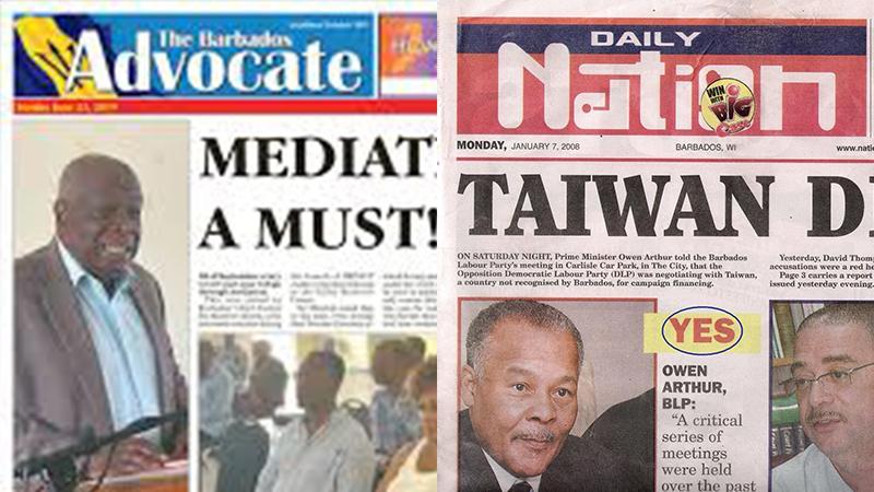 """Le """"Barbados Advocate"""" et le """"Daily Nation"""", les deux quotidiens de Barbade"""