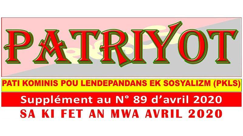 Supplément au Patriyot #89 Avril 2020